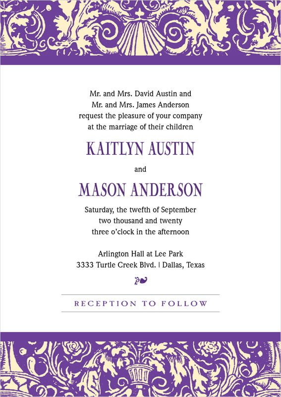 custom invitations - purple - provencale (set of 10)