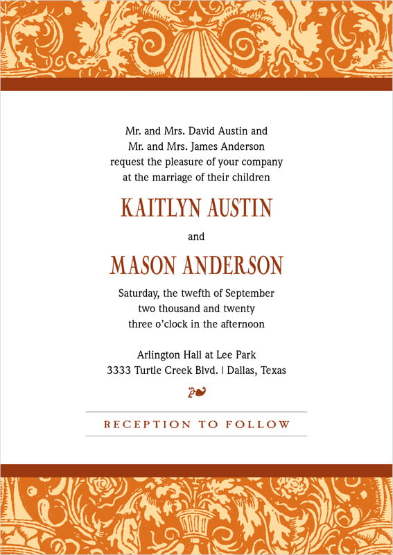 custom invitations - saddle & spice - provencale (set of 10)