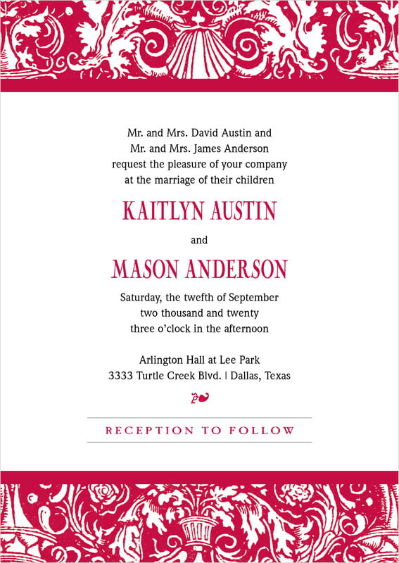 custom invitations - deep red - provencale (set of 10)