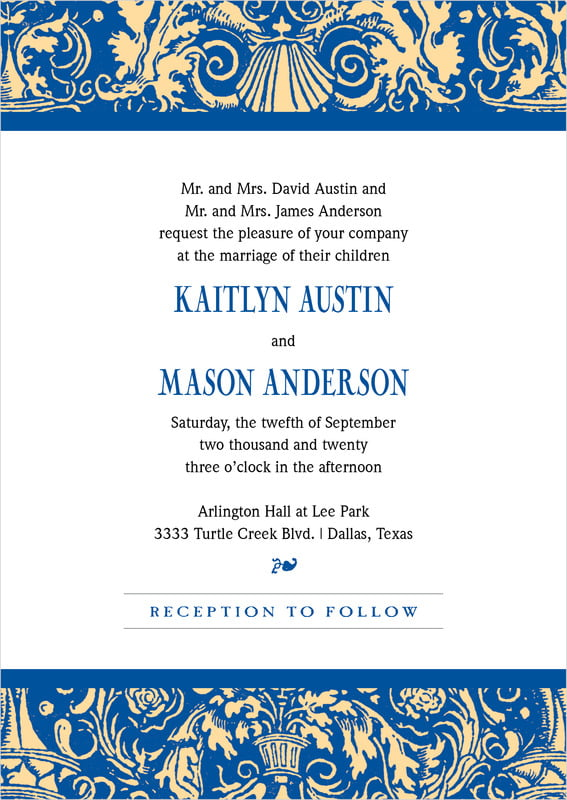 custom invitations - blue & gold - provencale (set of 10)