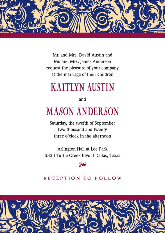 custom invitations - indigo & wine - provencale (set of 10)