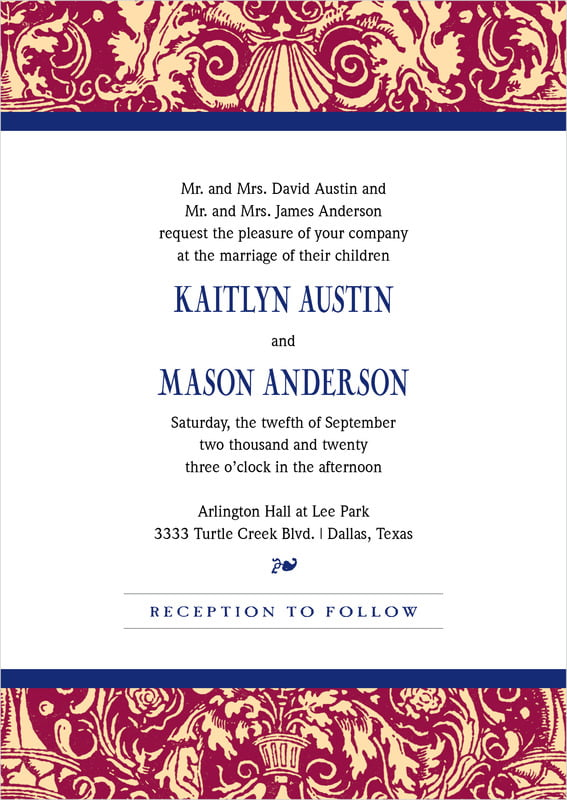 custom invitations - wine & indigo - provencale (set of 10)