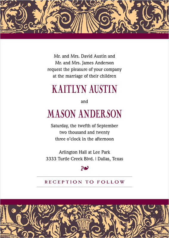 custom invitations - charcoal & ivory - provencale (set of 10)