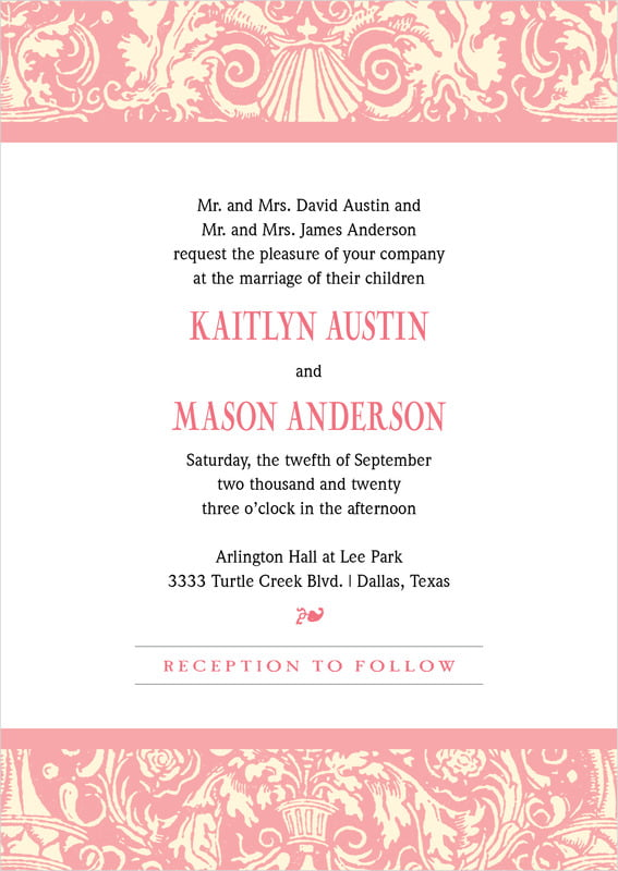 custom invitations - grapefruit - provencale (set of 10)