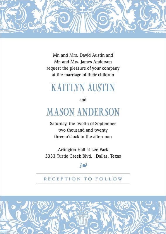 custom invitations - blue - provencale (set of 10)