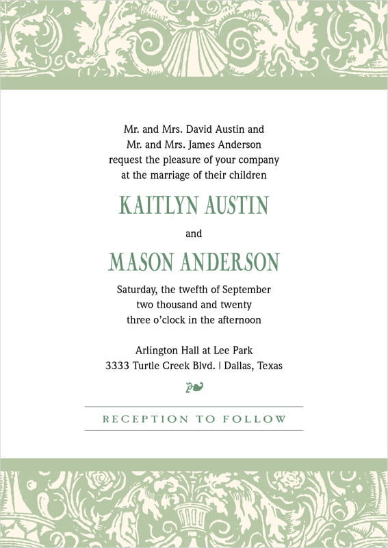 custom invitations - sage - provencale (set of 10)