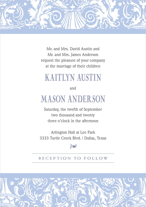custom invitations - periwinkle - provencale (set of 10)