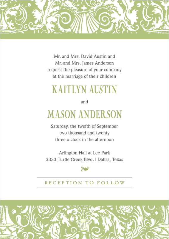 custom invitations - green tea - provencale (set of 10)