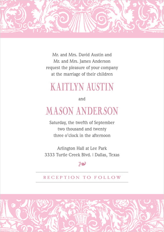 custom invitations - pale pink - provencale (set of 10)