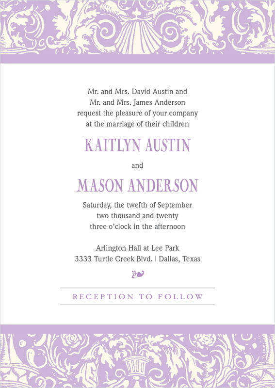 custom invitations - lilac - provencale (set of 10)