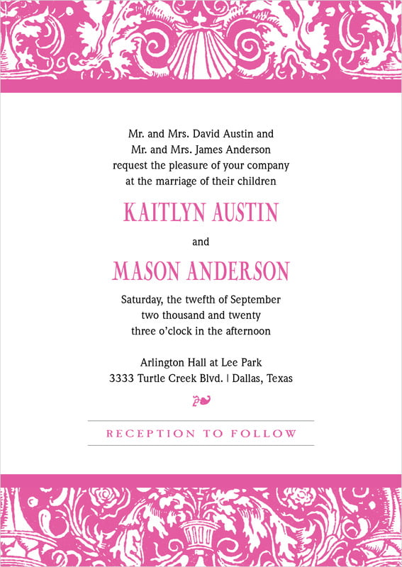 custom invitations - bright pink - provencale (set of 10)
