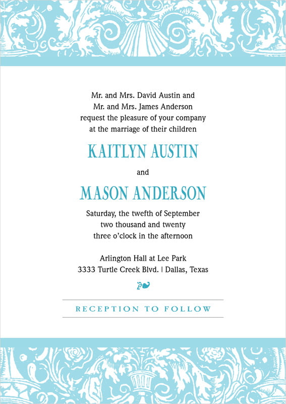 custom invitations - bahama blue - provencale (set of 10)