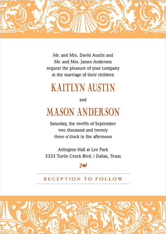 custom invitations - tangerine - provencale (set of 10)