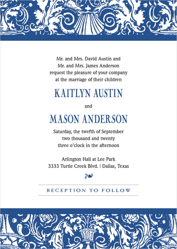 custom invitations - deep blue - provencale (set of 10)