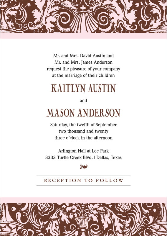 custom invitations - cocoa & pink - provencale (set of 10)