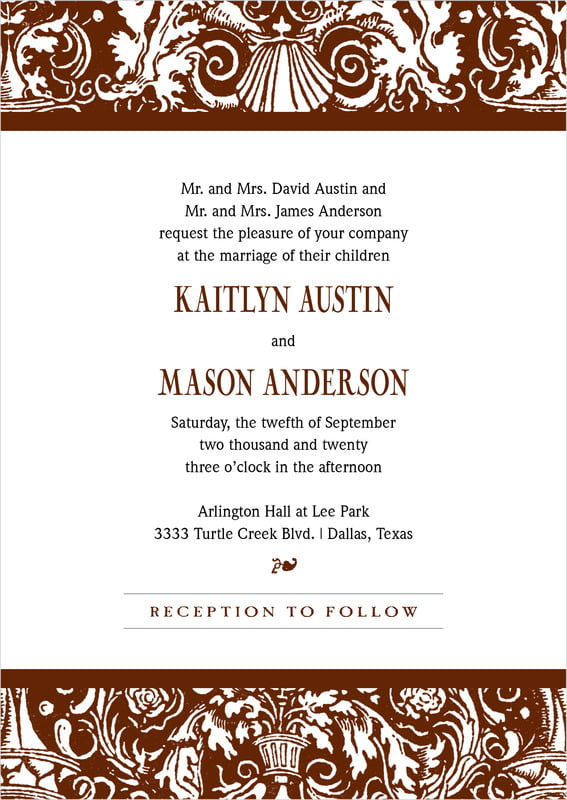 custom invitations - chocolate - provencale (set of 10)