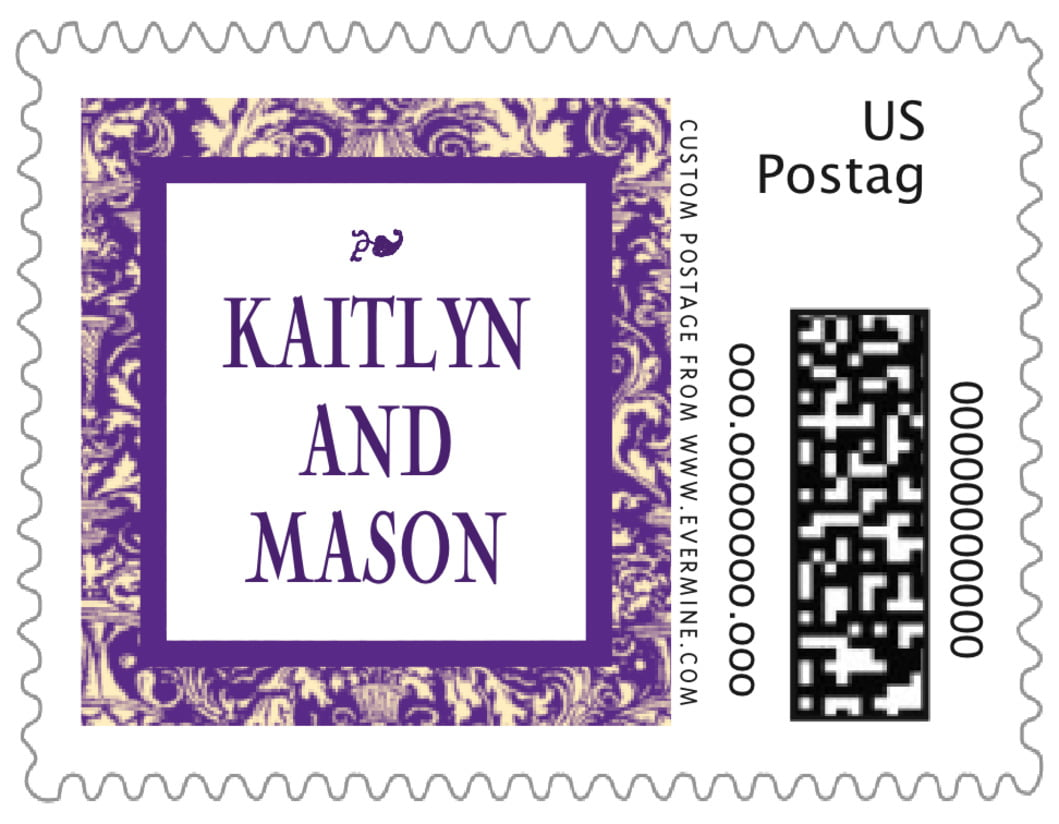small custom postage stamps - purple - provencale (set of 20)