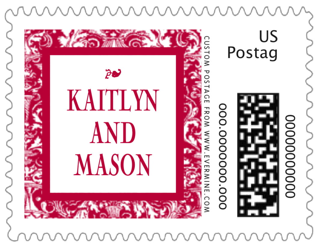small custom postage stamps - deep red - provencale (set of 20)