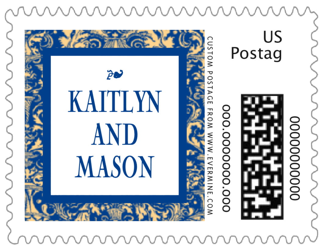 small custom postage stamps - blue & gold - provencale (set of 20)
