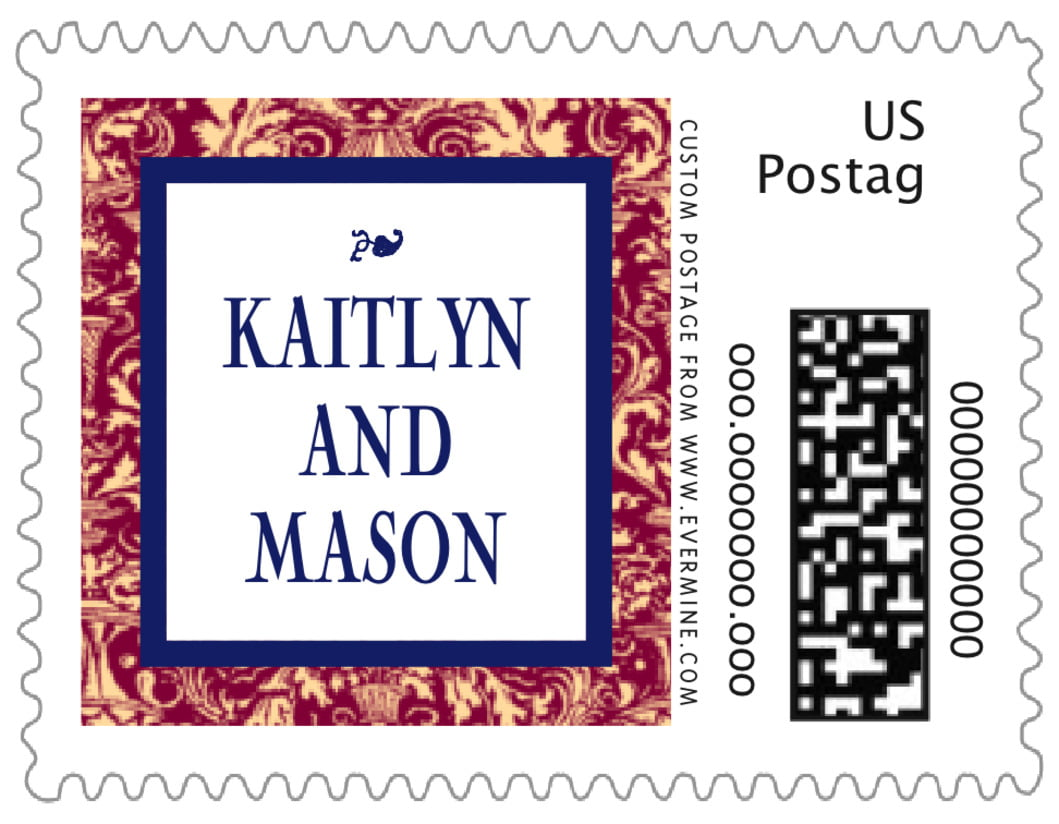 small custom postage stamps - wine & indigo - provencale (set of 20)