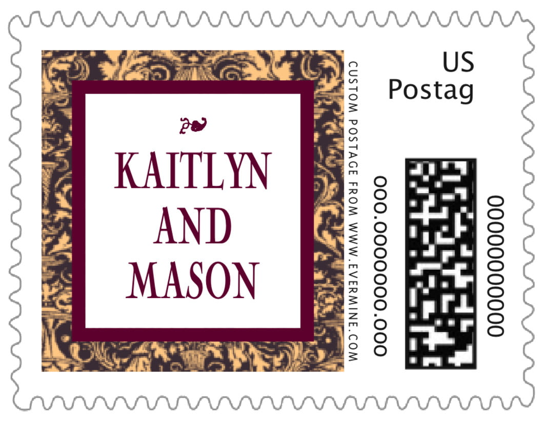 small custom postage stamps - charcoal & ivory - provencale (set of 20)