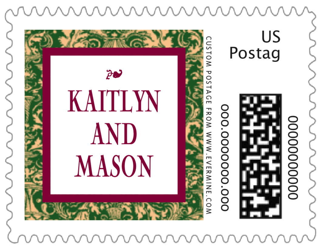 small custom postage stamps - deep green & wine - provencale (set of 20)
