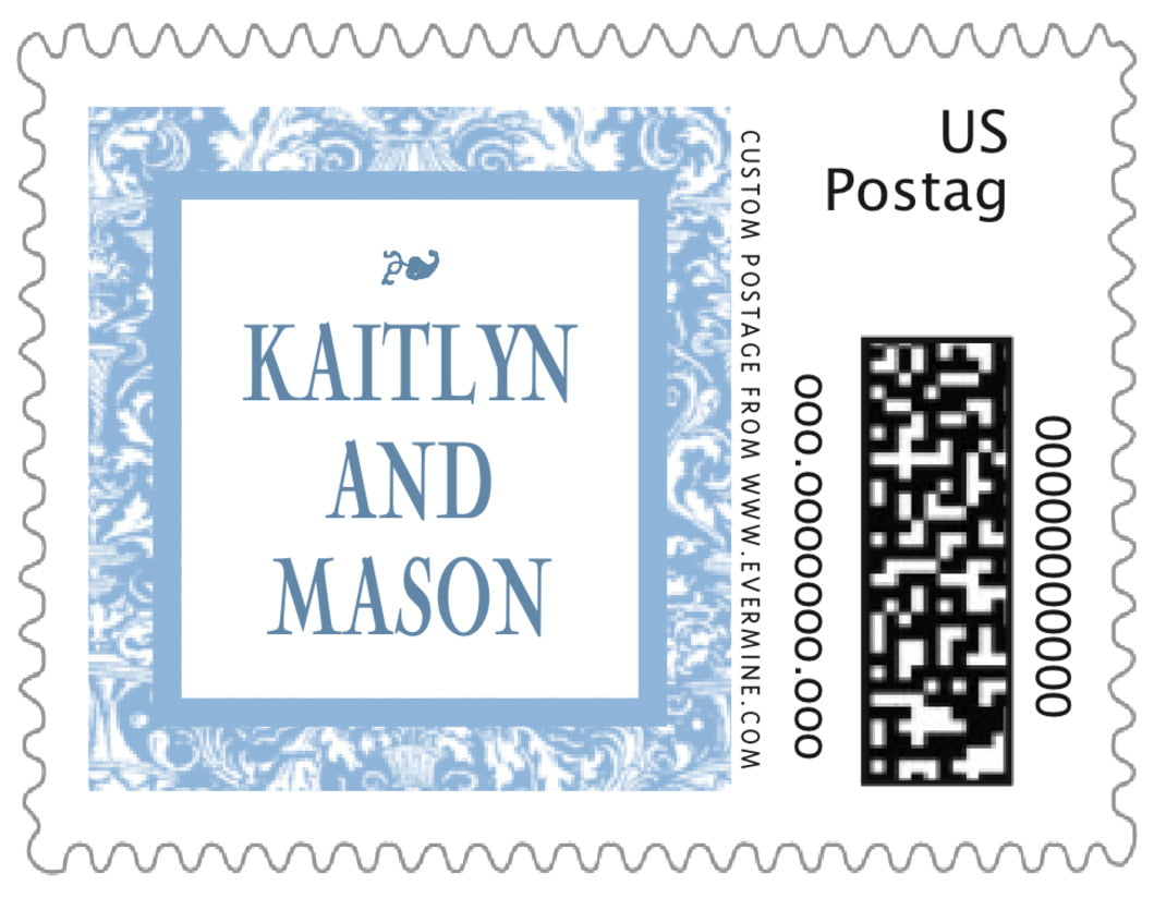 small custom postage stamps - blue - provencale (set of 20)
