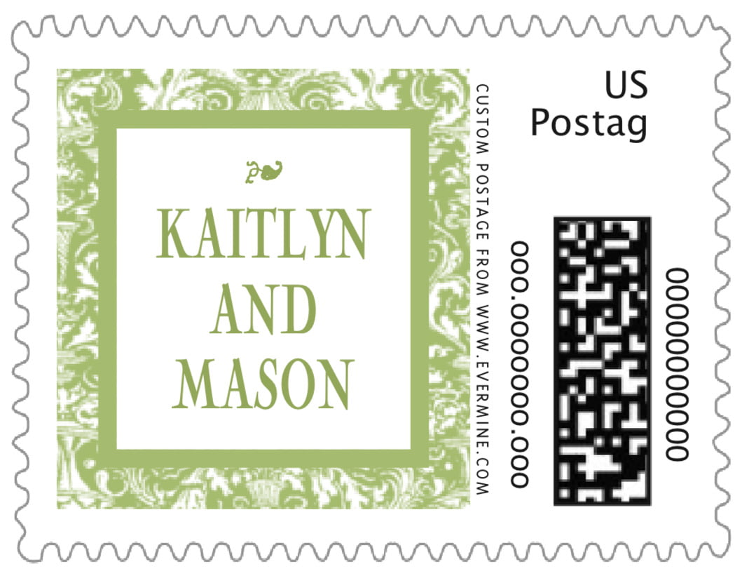 small custom postage stamps - green tea - provencale (set of 20)