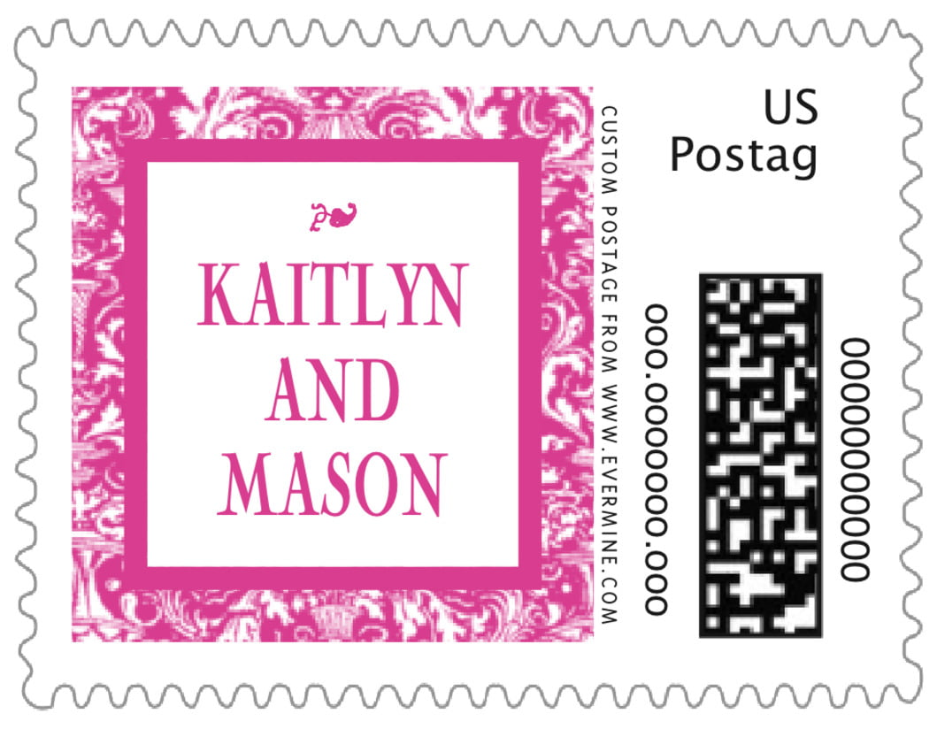 small custom postage stamps - bright pink - provencale (set of 20)