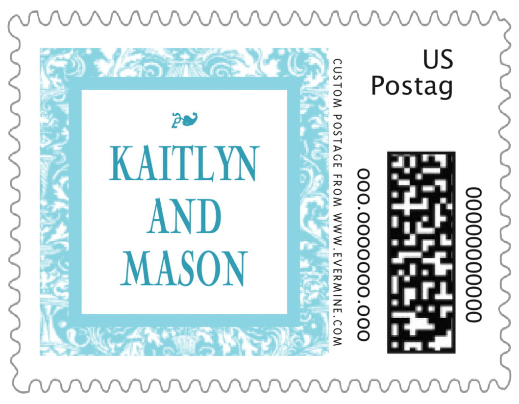 small custom postage stamps - bahama blue - provencale (set of 20)