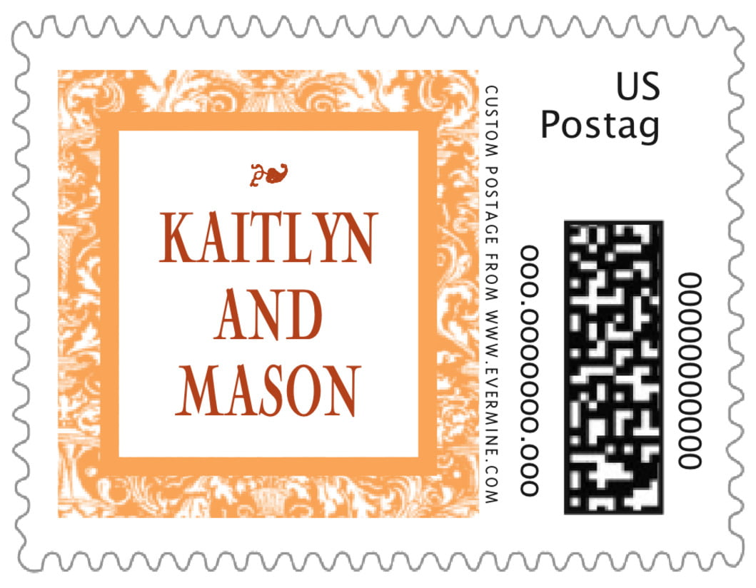 small custom postage stamps - tangerine - provencale (set of 20)