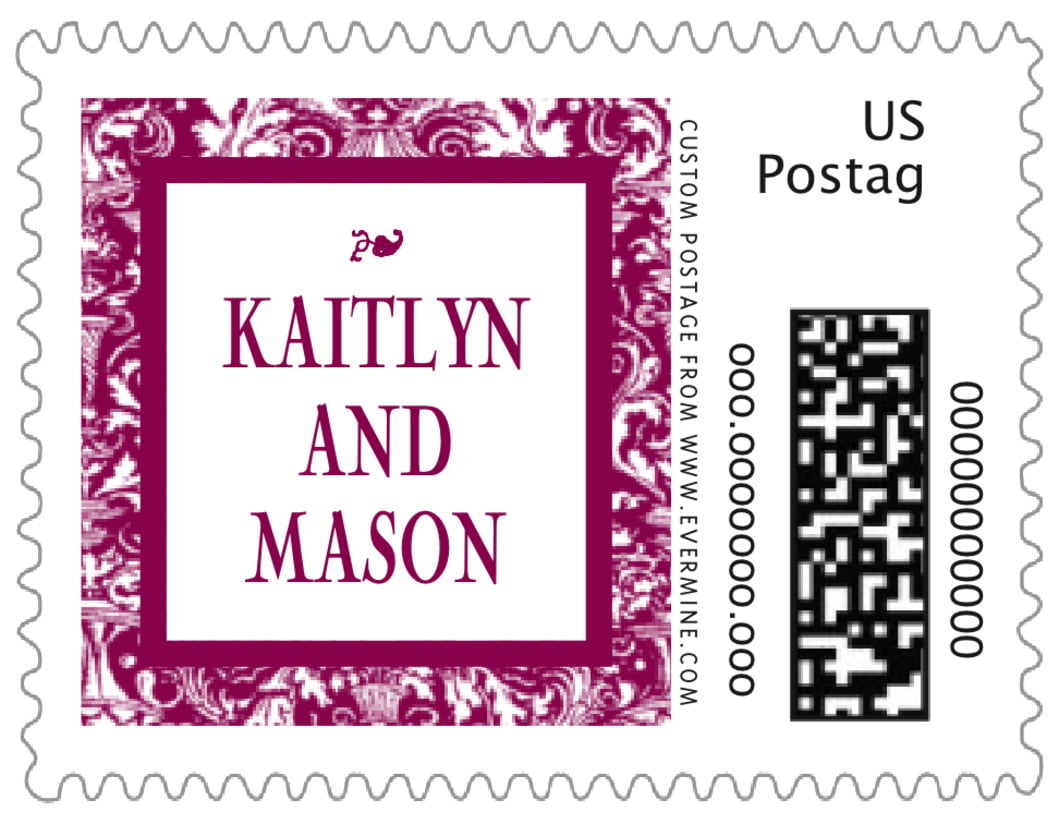 small custom postage stamps - burgundy - provencale (set of 20)