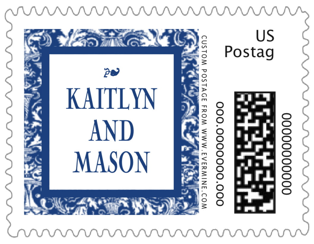 small custom postage stamps - deep blue - provencale (set of 20)
