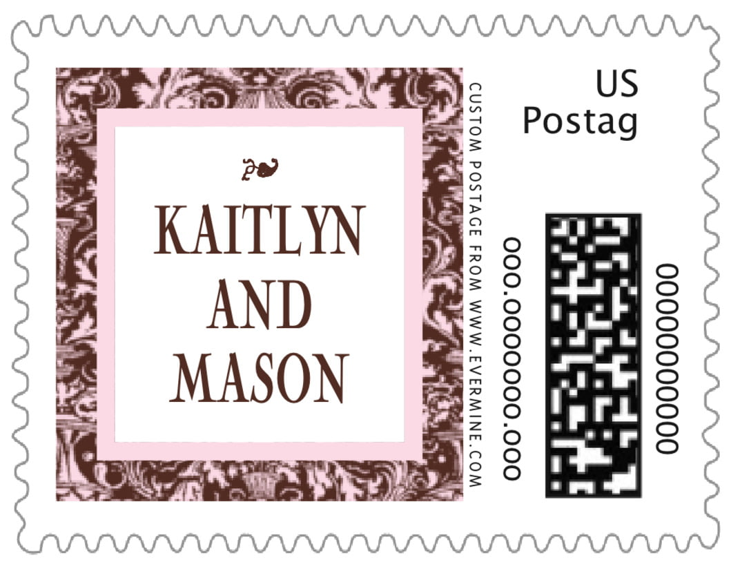 small custom postage stamps - cocoa & pink - provencale (set of 20)