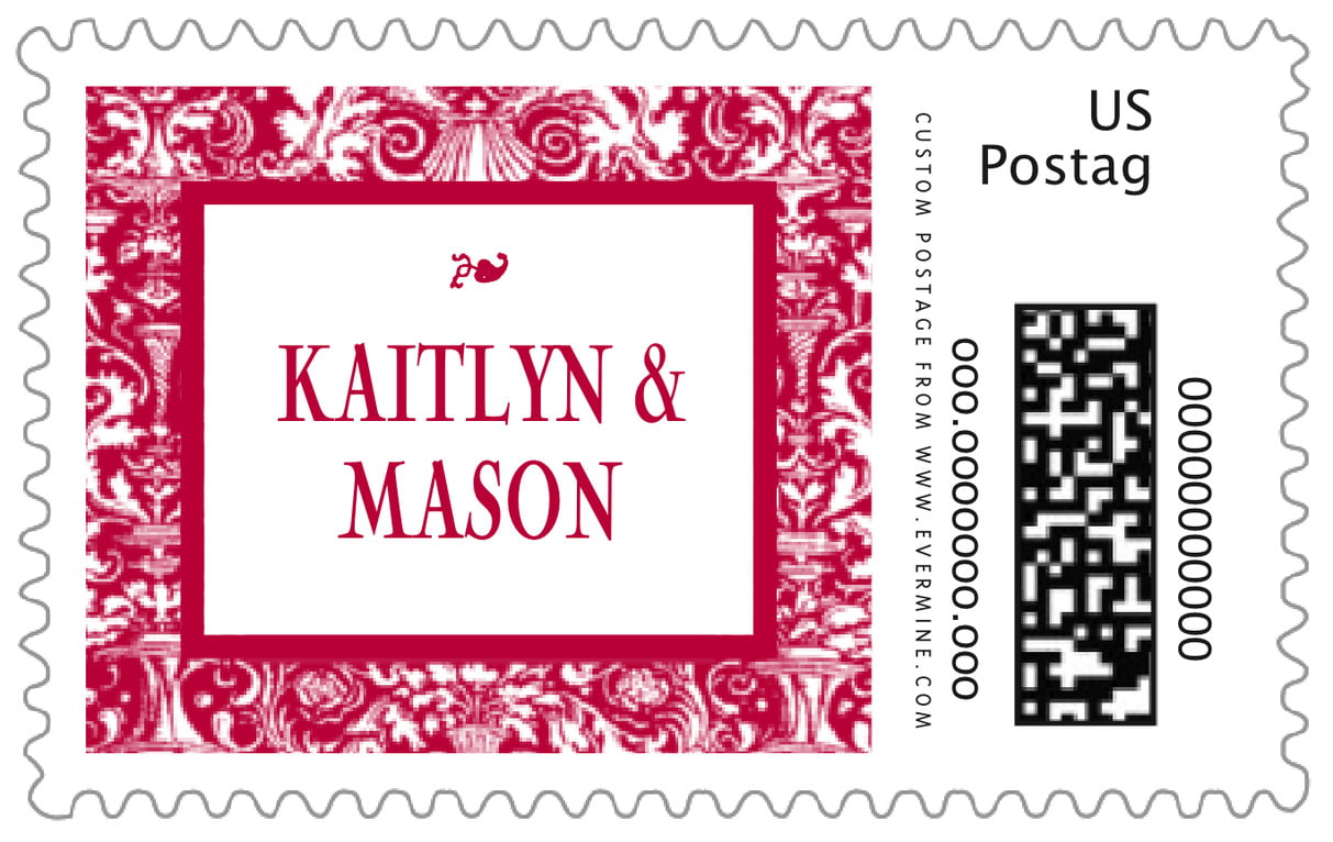 custom large postage stamps - deep red - provencale (set of 20)
