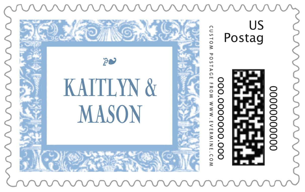 custom large postage stamps - blue - provencale (set of 20)