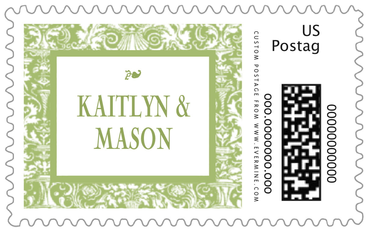 custom large postage stamps - green tea - provencale (set of 20)