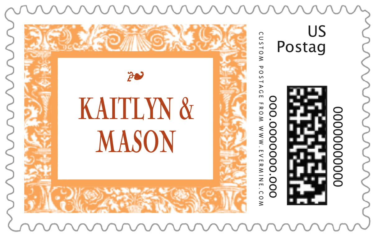 custom large postage stamps - tangerine - provencale (set of 20)