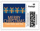 Presents small postage stamps