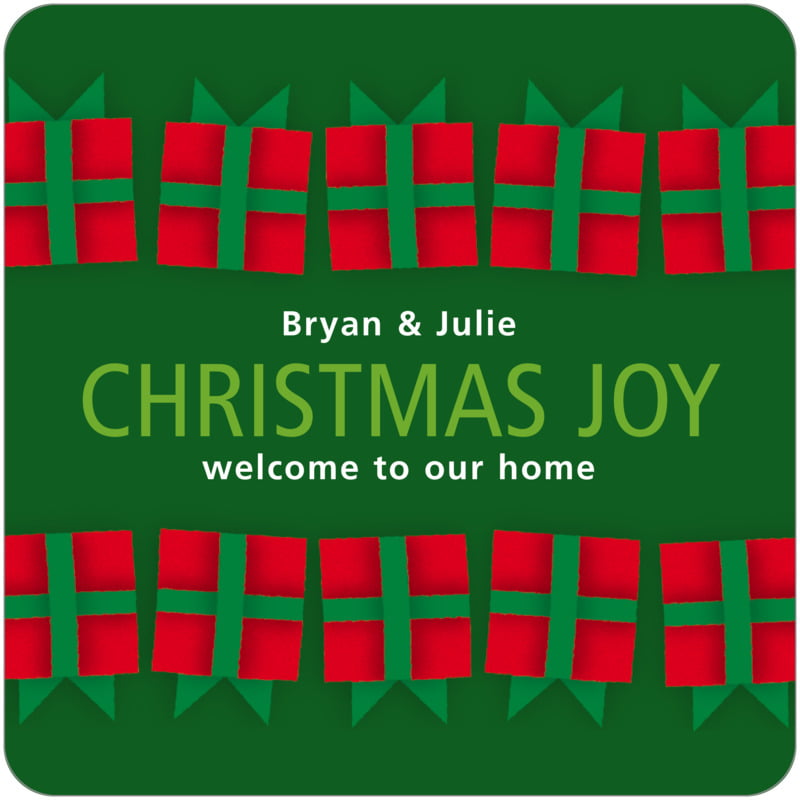 square holiday coasters - green - presents (set of 12)
