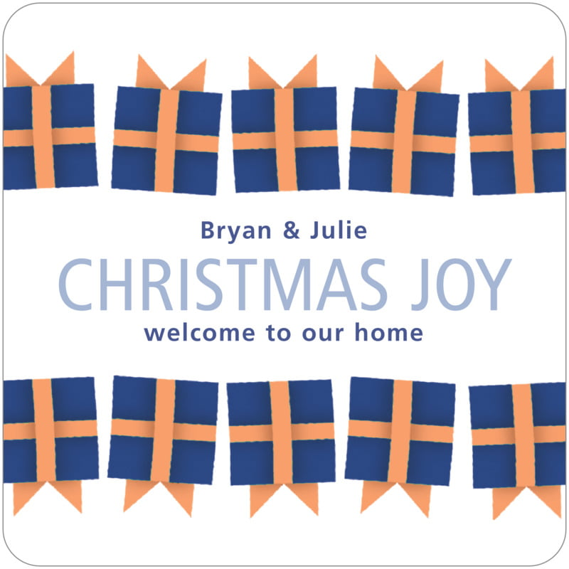 square holiday coasters - bluegrey - presents (set of 12)