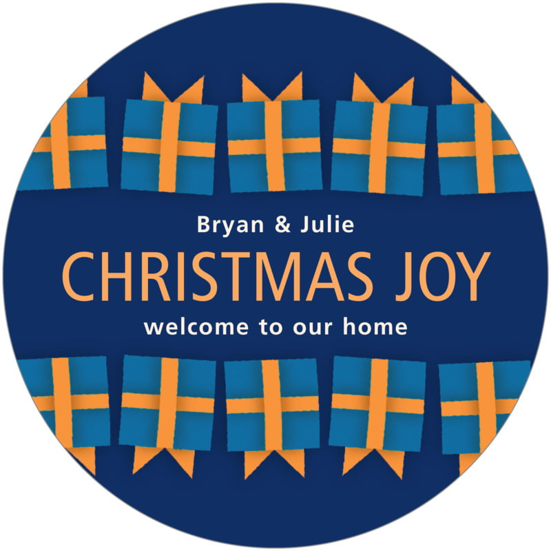 round holiday coasters - blue & gold - presents (set of 12)