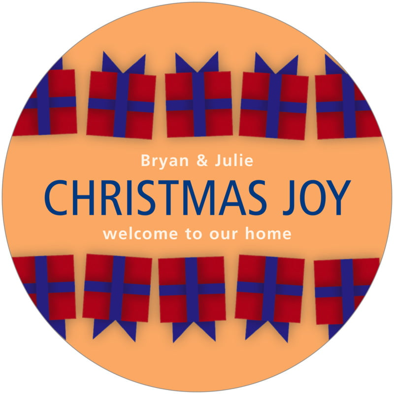 round holiday coasters - red & blue - presents (set of 12)
