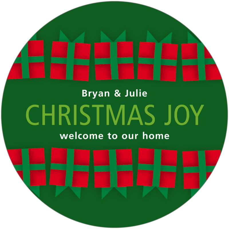 round holiday coasters - green - presents (set of 12)