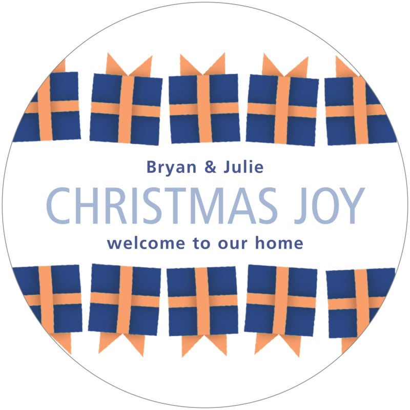 round holiday coasters - bluegrey - presents (set of 12)