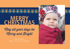 holiday cards - blue & gold - presents (set of 10)
