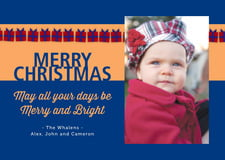 holiday cards - red & blue - presents (set of 10)