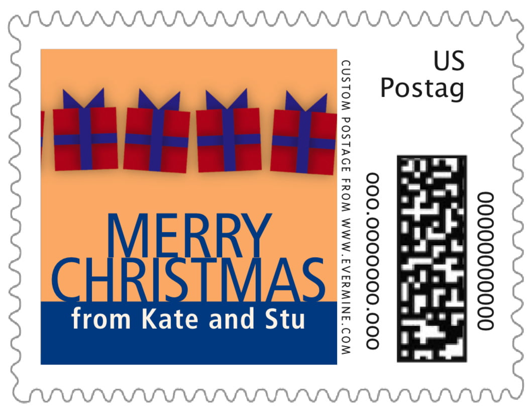 small custom postage stamps - red & blue - presents (set of 20)