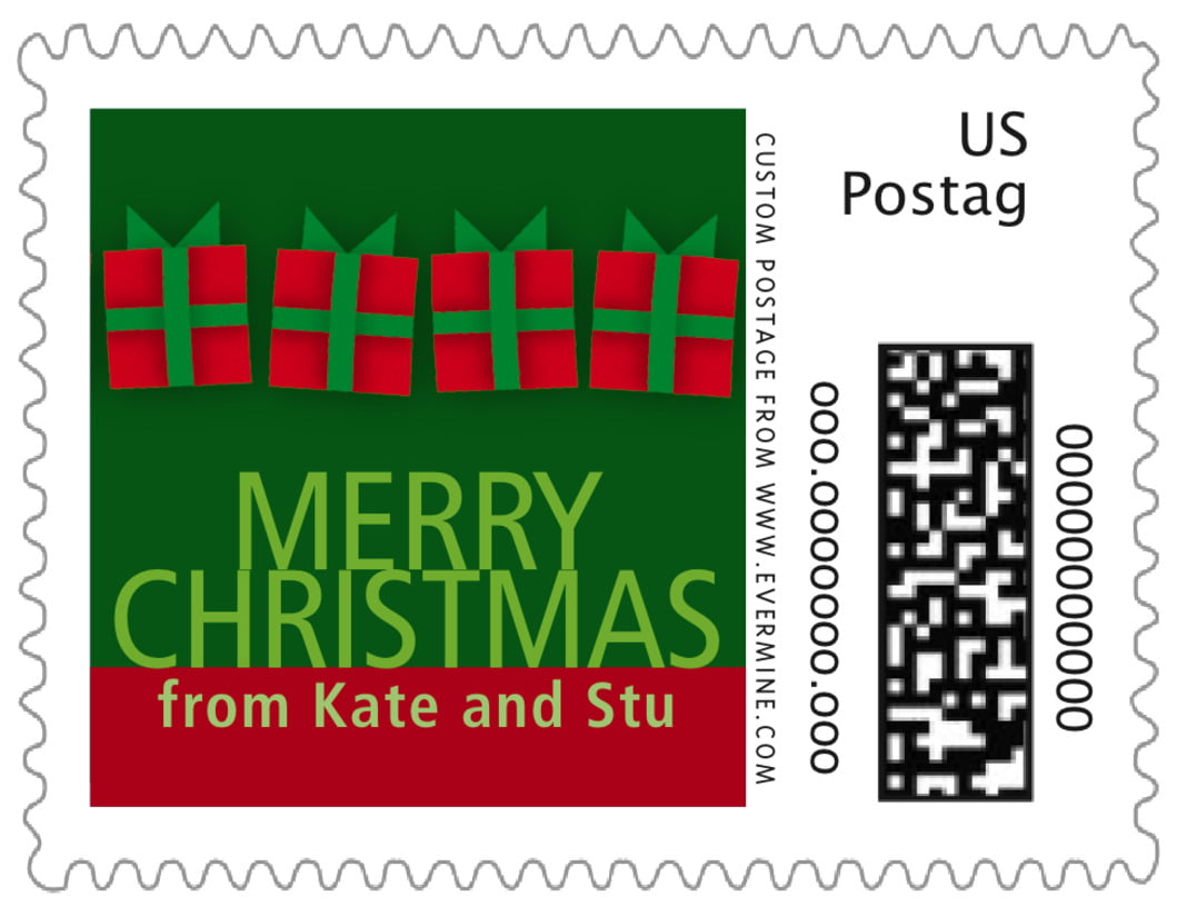 small custom postage stamps - green - presents (set of 20)