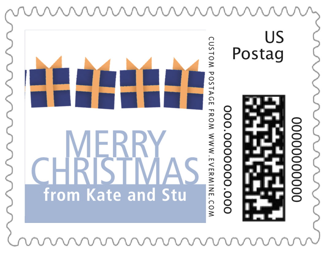 small custom postage stamps - bluegrey - presents (set of 20)